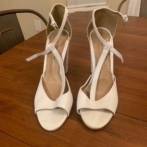 ZARA White T-bar Strap Block Heel Sandals